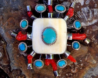 Huge Turquoise and Coral Pendant - Vintage Bone Jewelry - Branch Coral Necklace - Tribal Pendant - Indian Jewelry - 1970s WhistlingGypsyVTG
