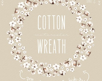 Cotton flowers watercolor collection clipart