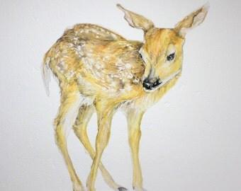Fawn wall decal, deer decor, fawn wall sticker, woodland wall decals, baby deer decal, wildlife decals, neutral nursery, woodland nursery