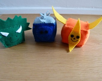 Felt Dinosaur Cubes