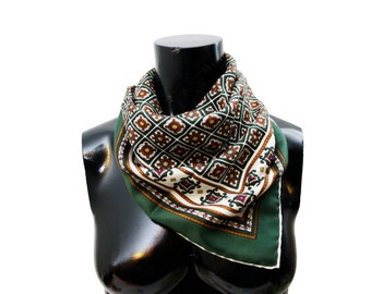 Vintage Green Red White Intricate Square Scarf, Winter Accessory, Bag Handle Scarf