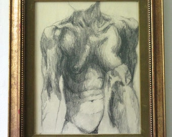 """Charcoal Life Drawing of Seated Nude Female Figure on Paper in Gold and Green Velvet Vintage Wooden Frame - 17"""" x 20"""""""