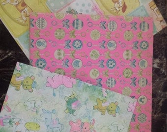 Lot of Vintage Baby Themed Gift Wrap
