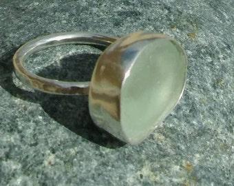 Handmade Silver Sea Glass ring, Sterling Silver ring, Sea Glass ring, Seaglass ring, Beach glass ring, SeaGlass, Silver ring, Gift.