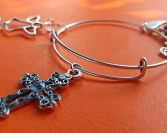 Cross and Angel bangle bracelet
