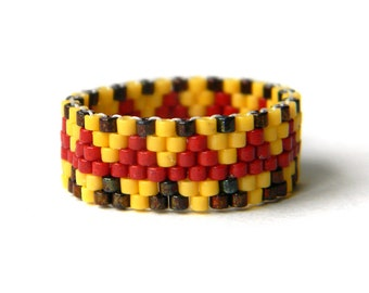 Colorful beaded ring Seed bead ring Beaded jewelry Ethnic beaded ring Boho beaded ring Beaded ring band for her Seed bead jewelry Beadwork