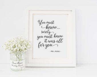 Pride and Prejudice Quote | Jane Austen | You must know surely you | Romantic Literature Quote | INSTANT DOWNLOAD 8x10 Printable Digital Art