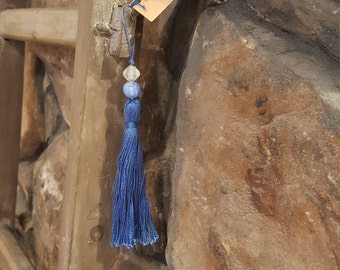 Blue tassel with beads
