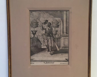 Il Harlequin copper engraving by Martin Engelbrecht (1667-1744)