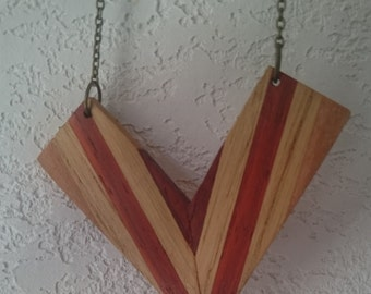 Wooden red and beige plywood long necklace