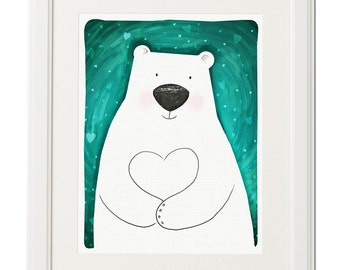 Polar bear's heart -Nursery art love-Nursery art-Wall decor-Bear digital print-Animal illustration-Poster-Baby print-Digital drawing