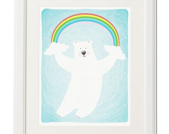 Flying polar bear under the rainbow -Digital download-Nursery illustration-Kids illustration-Nursery art print-Nursery decor-Wall art