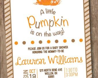 Fall Pumpkin Baby Shower Invitation - A Little Pumpkin is on the Way
