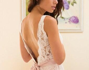 Simple wedding dress, non-corset wedding dress, lace wedding dress, back open wedding dress, boho wedding dress, beach weddnig dress