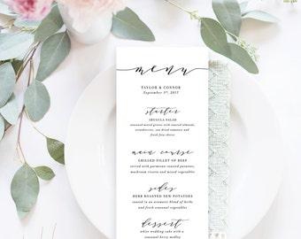 Printable Wedding Menu / Menu Cards, Wedding Menu Printable, Printable Menu - Modern Calligraphy Menu