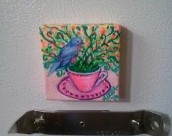 Blue Bird Tea cup with Flowers