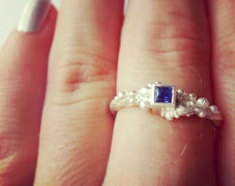 Square gem stone ring, Sapphire ring, Square ring,
