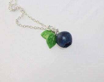 Polymer Clay Necklace Blueberry Necklace Miniature Food jewelry Charm food necklace berry jewelry  kawaii necklace fruit jewelry