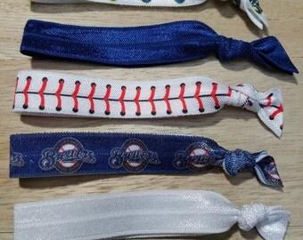 Milwaukee Brewers Hair Ties - Fold Over Elastic