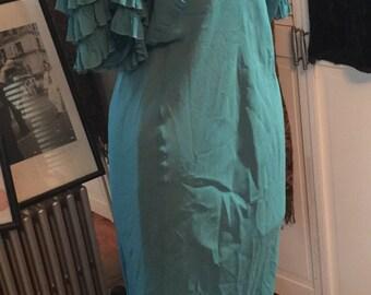 1930's Sheer bias cut aqua teal floor length evening gown with ruffled sleeves