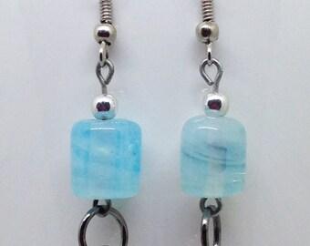Light Blue Glass Bead Earrings, Blue Bead Earrings, Blue and Silver Earrings