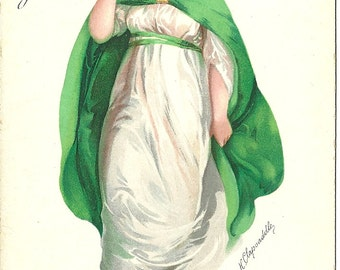 The Wearing of the Green, St Patrick's Day - artist/publisher: Ellen Clapsaddle/WOLF Publishing, postcard not posted, card # 100