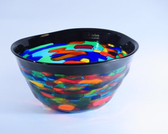 Multicolor with Black border Bowl