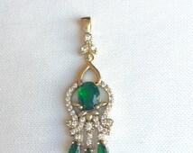 Emerald Pendant, Turkish Handmade Pendant, Ottoman pendant, Turkey jewelry, fashion pendant, Hurrem Jewelry, harem jewelry, Turkish jewelry