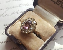 Brass Vintage Cocktail Ring. Purple Cut Glass Stone with Clear Foil Backed Rhinestones. Prong Set Costume Ring. Circa 1940. Size G Small