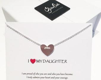 Dainty heart necklace Daughter gift Daughter necklace Daughter Necklace Daughter Birthday Gift Message Card Jewelry Love daughter