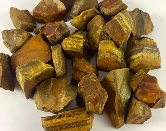 Raw Tigers Eye Bulk Rough Tigers Eye Rough Natural Raw - Tumbling, Crystal Healing Stone, Reiki, Wrapping, Polishing - GemCity Materials