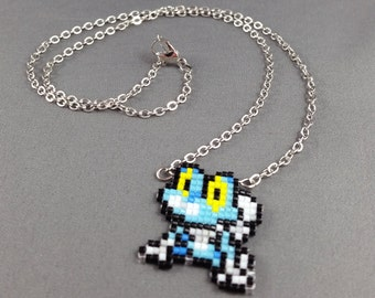 Froakie Necklace - Pixel Necklace Pokemon Necklace Pixel Jewelry 8 bit Necklace Seed Bead Neklace Video Game Necklace Starter Pokemon