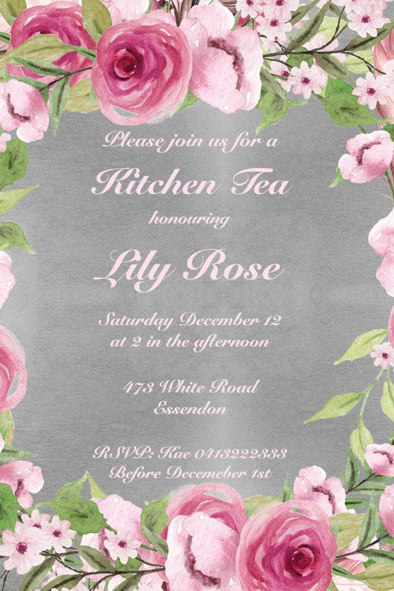 Kitchen Tea Invite, Bridal shower, Floral invite,