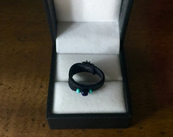 Black ring with glass seed beads, rings, fashion rings, prom accessories, date night, gifts for her, teens, New Year