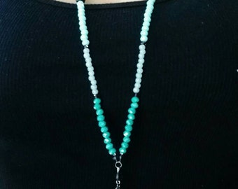Long beaded tassel necklace, crystal beads, handmade jewelry, gift for her