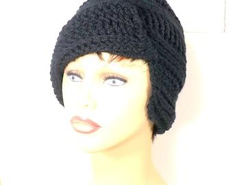 Crochet Hat Womens Hat, Womens Crochet Hat, Beanie Hat Flap Hat Crochet Beanie Hat Black Hat  African Hat, Clairisse Beanie Hat for Women