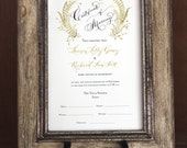 Marriage Certificate, Wedding Certificate, Custom Calligraphy, Fern, Watercolor Design
