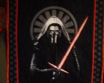 Kylo Ren Star Wars Quilt - Orange and White Backing
