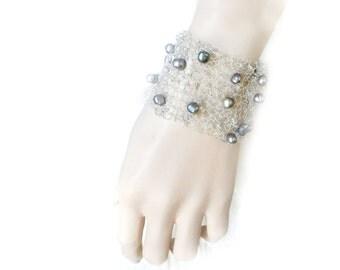 Wide Silver Cuff, Fine Silver Cuff, Knitted Wire Bracelet, Wire Crochet Jewelry, Silver Bracelet, Fresh Water Pearls,  by Durango Rose