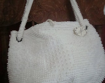 vintage chenille bedspread purse - a Medium Carpetbag of delightful nubbiness