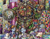 Bioshock Big Daddy Little Sisters Rapture art print by Bryan Collins