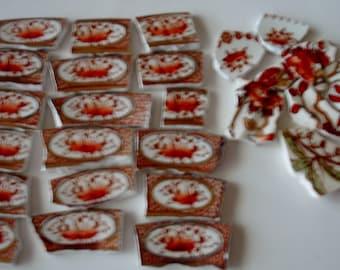 Mosaic Tiles Vintage Burnt Sienna Roses Circles Dots Tessera