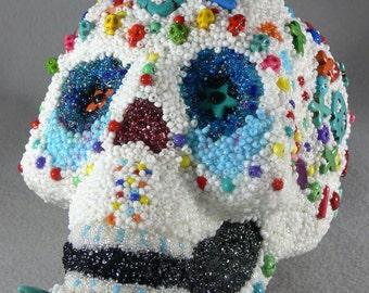 Bruno Dios de los Muertos Beaded Mosaic Skull