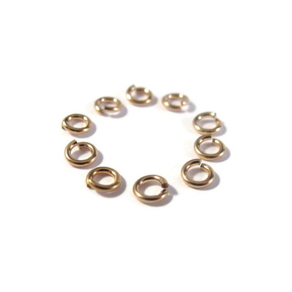 4mm Open Rings, 10 Hard Snap 14/20 Gold Filled Jump Rings, 20 Gauge, Jewelry Findings, Gold Rings, Connectors, Strong, Small Rings (H-GJH1)