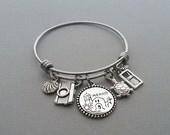 Mexico Charm Bracelet, Mexico Vacation, Mexico Jewelry, Tropical Vacation, Camera Charm, Seashell Charm, Beach Charm, Stainless Steel Bangle