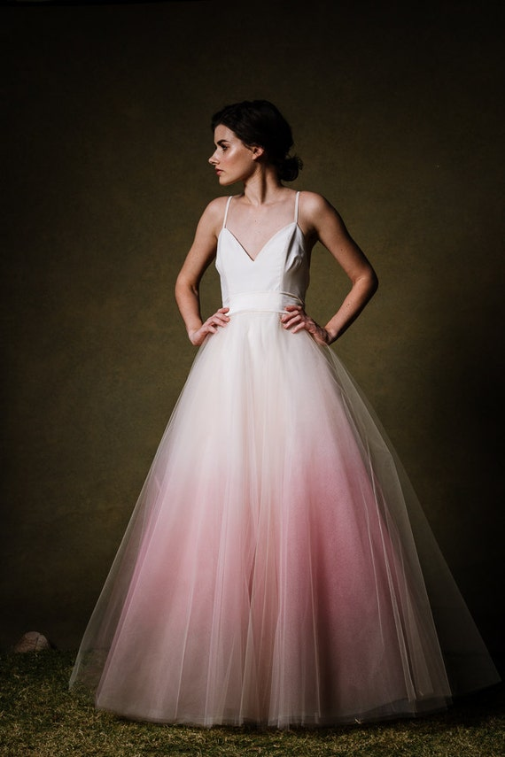 Ombre dip dyed tulle ballgown wedding dress by for Dyeing a wedding dress professionally