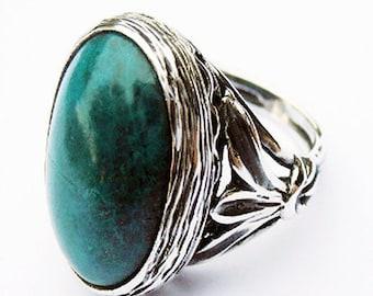 Cabochon Eilat Stone ring.  Eilat Stone Ring, Green Stone Ring, Israeli Jewelry, Green Gemstone Ring, Israeli Jewelry.