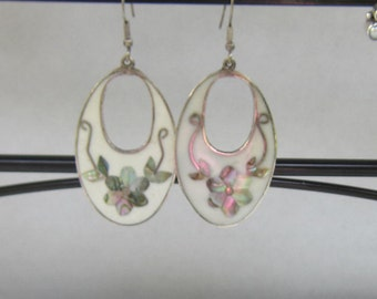Large Vintage Inlay of Abalone Dangle Earrings - Mexico - Alpaca