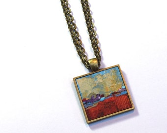 Original Miniature Painting, FREE Priority Shipping to US, Red Pendant, Wearable Art , Necklace Pendant, Abstract Landscape, Yellow, blue