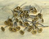 100 pcs Stainless Steel Earring Posts - 4mm Raw Brass Pads - Patina Queen